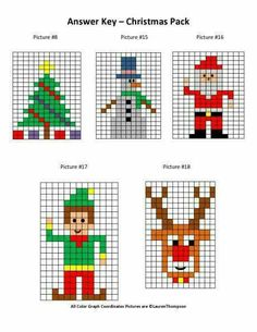 """Christmas Mystery Picture Graphs- Christmas tree, snowman, santa, elf, and rudolph"""" data-componentType=""""MODAL_PIN Xmas Cross Stitch, Cross Stitching, Cross Stitch Embroidery, Cross Stitch Patterns, Christmas Math, Christmas Knitting, Christmas Cross, Christmas Tree, Pixel Art Noel"""