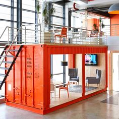 Google's flexible office featuring red shipping containers and a meeting area with five metre-high trees are included in this week's Pinterest roundup.