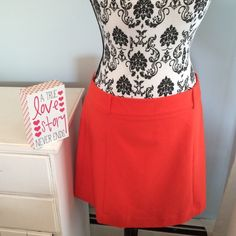 """Express Mini Skirt, Orange, Sz 12 NWOT Never worn, Express Mini Skirt, Orange, Sz 12, 17"""" mini.  Bundle with Jessica Simpson Leopard Peep Toe Slings or Kelly & Katie Gold Shoes and save on shipping!  Super cute with boots! Express Skirts Mini"""
