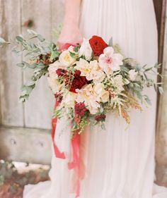 Ivory + red bridal bouquet