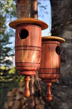 I usually turn and carve large bowls.  As some of you know, in addition to bowls and vases I also turn decorative birdhouses.   These are Ea...