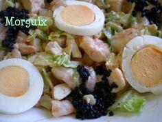 Ensalada de pollo y gambas (o langostinos)