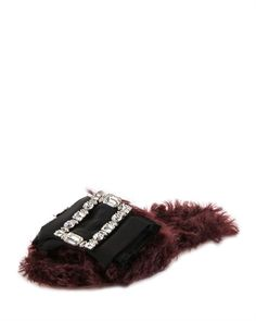 Shop Furry Flat Slide Sandal, Dark Red from Miu Miu at Neiman Marcus Last Call, where you'll save as much as on designer fashions. Miu Miu Sandals, Bow Sandals, Bow Flats, Slide Sandals, Flat Sandals, Cool Slides, Fur Slides, Open Toe Flats, Embellished Sandals