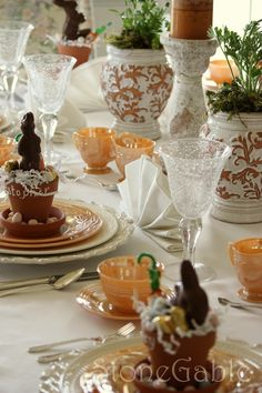 EASTER D INNER: This Easter's dinner was inspired by the Peach Luster Fire King dishes I have been collecting for many years. Chocolate Rabbit, Easter Table Settings, Easter Traditions, Easter Dinner, Easter Brunch, Easter Party, Holiday Dinner, Easter Baskets, Tablescapes