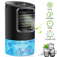 Onewell 2019 Portable Air Conditioner Fan,4 in1 Personal Evaporative Air Cooler Desktop Cooling Fan with 7 Colors LED Lights,Super Quiet Mini Evaporative Air Circulator Cooler