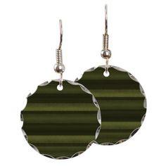 Elegant Olive Green Stripes Earring on CafePress.com