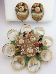 Vintage Sea Shell Brooch Earrings