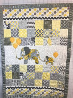 """Baby quilt made by me for a little boy.  Inspired by pattern by Colette Belt called """"Mommy and Me"""""""