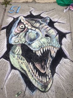 T Rex chalk drawing for summer street drawing contest- 2015