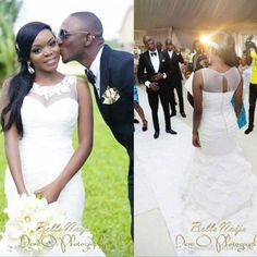 2014 New Custom Plus Size Sexy Sheer Lace Illusion Jewel Neckline Beautifully Organza Ruffles Chapel Train Mermaid Wedding Dress Bridal Gown