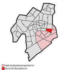Map - NL - Leiden - Wijk 04 Roodenburgerdistrict - Buurt 01 Rijndijkbuurt - Wijken en buurten in Leiden - Wikipedia Leiden