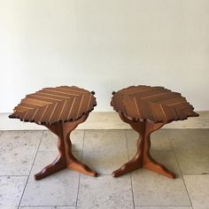A Studio Pair of Solid Exotic Wood Inlaid Side Tables by Paul Van signed and dated 2013 The table tops are in the form of leaves set on tripod Pedestal legs Solid Wood Furniture, Deco Furniture, French Furniture, Home Decor Furniture, Cool Furniture, Furniture Design, Kitchen Layout Plans, Indian Home Decor, Leaf Shapes