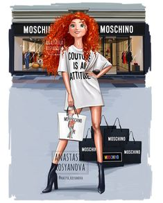 """""""Brave"""" Merida❤️ in Moschino Who next?😊 My new Disney princesses collection""""Brave"""" Merida❤️ in Moschino Who next?😊 My new Disney princesses collection All Disney Princesses, Disney Princess Drawings, Disney Princess Art, Disney Drawings, Disney Art, Drawing Disney, Brave Disney, Modern Princess, Princess Style"""