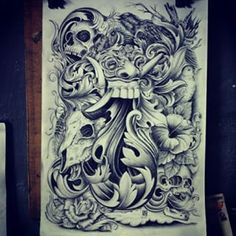 "Tekening nyicil A3-formaat ""Barong Ket"" potlood op papier A3 2015 (Barong masker…"