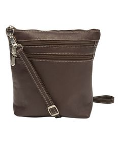 Love this Brown Double-Zip Leather Crossbody Bag on #zulily! #zulilyfinds