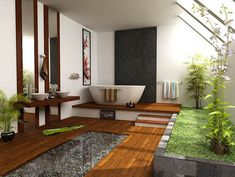 The top Feng Shui bathroom fixes in your bathroom involve drains and the water element. Water in Feng Shui represents wealth, hence, water loss means wealth or financial loss. Asian Bathroom, Japanese Bathroom, Tropical Bathroom, Garden Bathroom, Natural Bathroom, Bathroom Spa, Relaxing Bathroom, Open Bathroom, Bathroom Green