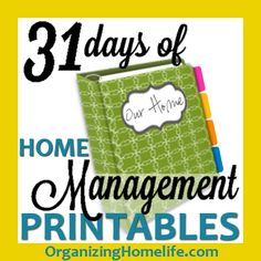 31 Days of FREE Home Management Binder Printables