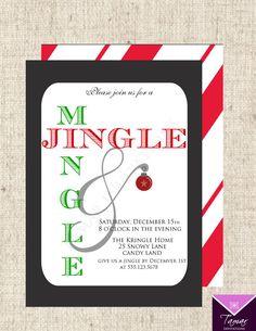 Printable Christmas-Holiday Party Invitation - Jingle and Mingle Party - with printable back