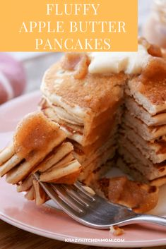 30 minutes · Vegetarian · Makes cup pancakes · Once you've tried by Fluffy Apple Butter Pancakes, you'll never use another pancake recipe. Light, fluffy, with just a touch of apple flavor. Butter Pancake Recipe, Fluffy Pancakes, Homemade Apple Butter, Apple Butter Uses, Unique Recipes, Easy Recipes, Amazing Recipes, How To Make Pancakes
