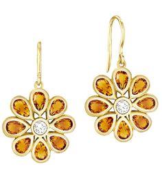 Carelle Orange Citrine and Diamond Marigold Earrings.