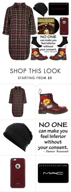 """Kool: The Shirtdress"" by emcf3548 ❤ liked on Polyvore featuring Topshop, CO, Dr. Martens, Converse, Moshi, MAC Cosmetics and River Island"