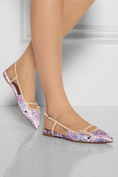 Tabitha Simmons Dilly leather-trimmed printed satin point-toe flats