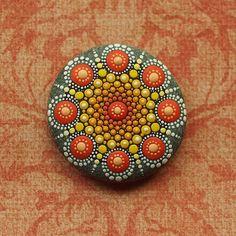 Jewel Drop Mandala Painted Stone- painted by Elspeth McLean