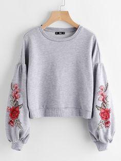 Модный свитшот с цветочной вышивкой, рукав-фонарик
