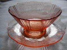 VINTAGE American Sweetheart Pink Depression Sherbet Dish Set