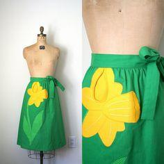 vintage wrap skirt PREPPY kelly green & yellow by capricorne, $38.00