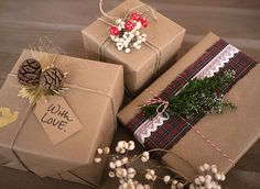 Brown Paper Christmas Gift Wrapping Idea: Tartan + Lace + Pine Cone