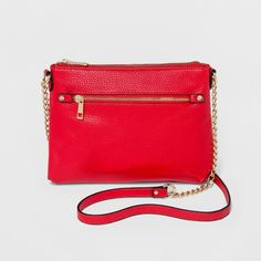 Women's Top Zip Cross Body Bags - A New Day Red, Bright Red