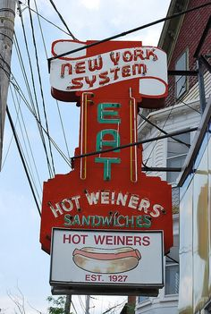 Eat Hot Weiners - New York System neon sign located on US Route 44 near downtown Providence, RI