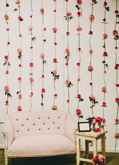 flower wall backdrop.  Would just be done on sight because there is no water source, but wow!