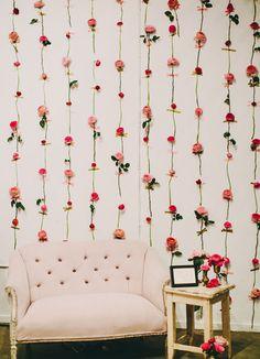 愛らしい花のインテリア*DIYフラワーウォールの作り方 from L.A.   DIY Recipe