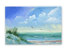 ACRYLIC PAINTING DUNES   Original Seascape Painting, Sand Dunes and Seagulls on Canvas Panel ...