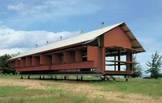 The Marika-Alderton House by architect Glenn Murcutt was built in Yirrkala Community, Eastern Arnheim Land, Northern Territory, Australia in Glen Murcutt, Critical Regionalism, Timber Screens, Architectural Services, Architectural Models, Steel Columns, Built In Furniture, Gable Roof, Passive House