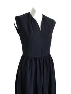 Simple 1940s navy dress