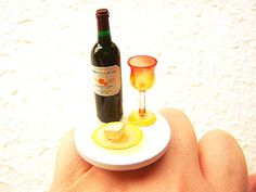 Wine Ring Kawaii Miniature Food Jewelry by SouZouCreations on Etsy, $15.00