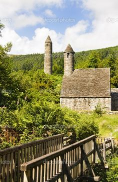 Saint Kevin Church (Kitchen) is a symbol of Ireland and part of Glendalough (Gleann Da Loch) Heritage Center in the Wicklow Mountains.