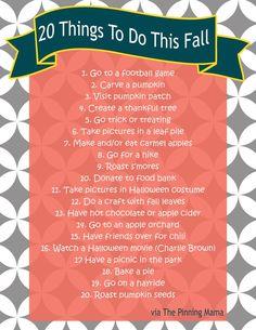 fall bucket list http://www.thepinningmama.com