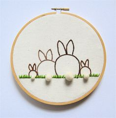 Family Portrait of Bunnies with 3D Felt Ball Tails - Customizable - Embroidery Hoop Art. $40.00, via Etsy.