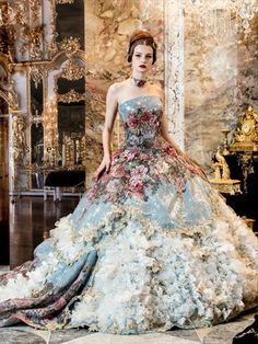 Stella de Libero 2014 oh alice with this floral and pastel couture ball gown ,evening dress you would be the princess of any prom,use it as an alternative bridal gown and it wouln't matter if the groom turned up you could quite happily marry it instead