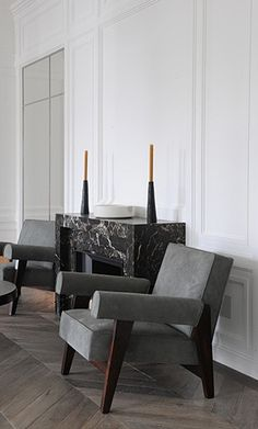 Armchair by Pierre Jeanneret and Le Corbusier for the High Court and Assembly, Chandigarh :: 1955-1956 at the Neuilly Apartment by Joseph Dirand, Paris