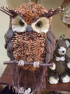 pinecone owl ornament