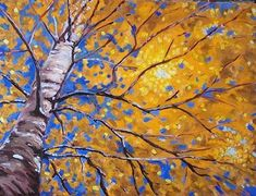 DIY Blue and Yellow Acrylic Tree Painting - Connoisseur of Creativity