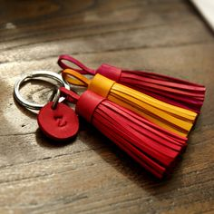 Personalized Leather Keychain, Leather Tassel Keychain, Custom Leather gift, initial leather keychain by 902Studio on Etsy https://www.etsy.com/listing/219554067/personalized-leather-keychain-leather