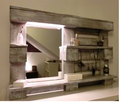 See the photo of handicraft crafted DIY mirror for bathroom from a palette and other inspiring images on Spaaz. Pallet Shelves, Shelves, Home Projects, Diy Furniture, Home, Diy Mirror, Pallet Mirror, Home Deco, Home Diy