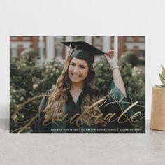 """Graceful Graduate Script"" - Modern Foil-pressed Graduation Announcements in Chalk by Paper Dahlia. Paper Dahlia, Class Of 2020, Graduation Announcements, Script, Invitations, School, Modern, Script Typeface, Invitation"