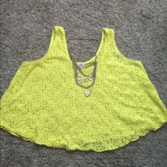 Yellow lace crop top Perfect condition, worn once Tops Crop Tops